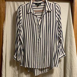 Ellos blue striped blouse